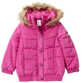 Bebe Sequins Logo Puffer Jacket with Faux Fur Trim (Toddler & Little Girls)