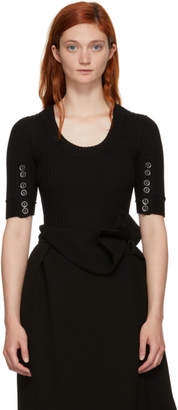 3.1 Phillip Lim Black Three-Quarter Sleeve Button Sweater