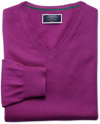Charles Tyrwhitt Berry Merino Wool V-Neck Sweater Size Medium