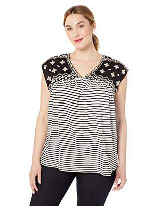 Lucky Brand Women's Plus Size Novelty Striped TOP