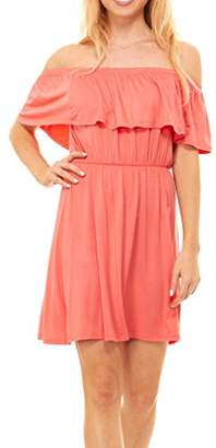 Red Hanger Womens Off Shoulder Ruffles Dress - Strapless Layered Stripe and Solid Dress, (-L)