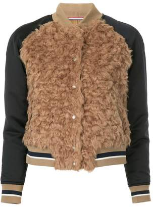 GUILD PRIME faux fur varsity jacket