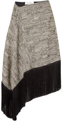 Marques Almeida Marques' Almeida - Asymmetric Fringed Cotton-blend Midi Skirt - Black