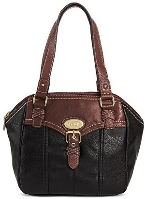 Bolo Women's Faux Leather Satchel Handbag with Back/Interior Compartments and Zipper Closure - Black/Walnut $39.99 thestylecure.com