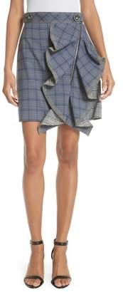 Self-Portrait Ruffle Detail Plaid Skirt