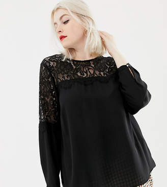 New Look Plus Curve lace detail blouse in black