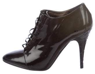 Burberry Patent Leather Round-Toe Booties