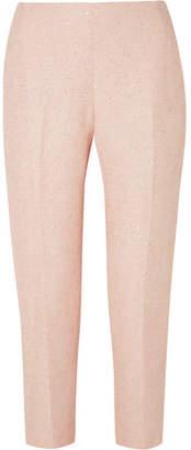 Lela Rose Sequined Tweed Slim-leg Pants