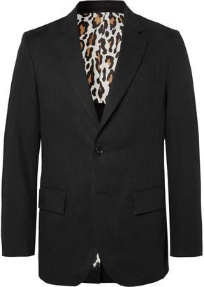 Wacko Maria Black Unstructured Herringbone Linen Suit Jacket