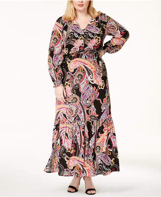 ECI Plus Size Paisley-Print Maxi Dress