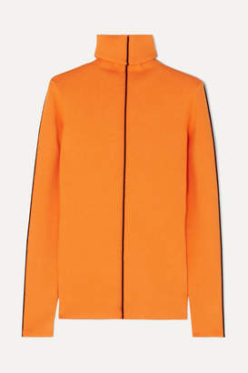 Victoria Victoria Beckham Victoria, Victoria Beckham - Ribbed-knit Turtleneck Sweater - Orange