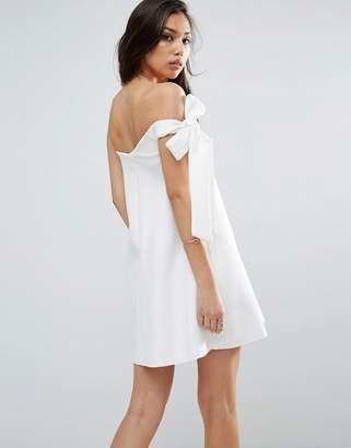 ASOS One Shoulder Bow Trapeze Mini Dress $72 thestylecure.com