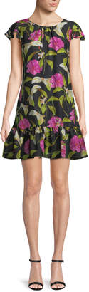 Milly Jill Floral-Print Silk Flounce Dress