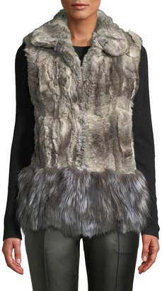 Adrienne Landau Shaggy-Hem Rabbit & Fox Fur Vest, Gray