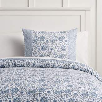 Pottery Barn Teen Paisley Floral Organic Duvet Cover, Full/Queen, Navy Multi