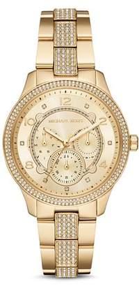 Michael Kors Runway Gold-Tone Pavé Crystal Watch, 38mm