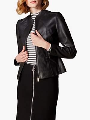 Karen Millen Collarless Leather Jacket, Black