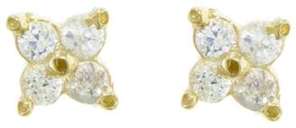 Ruta Reifen White Clover Stud Earrings - Yellow Gold