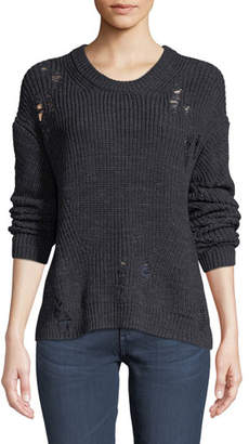 AG Jeans Finn Crewneck Tattered Knit Sweater