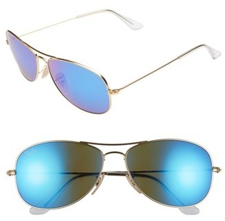 Women's Ray-Ban 'New Classic' 59Mm Aviator Sunglasses - Gold/ Blue Mirror $170 thestylecure.com