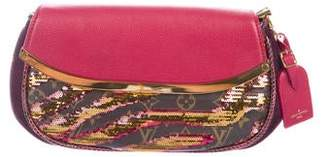 Louis Vuitton Snakeskin-Trimmed Sequins Savage Cub Clutch