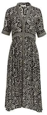Sea Women's Emi Printed Midi Dress - Black - Size 0
