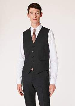 0045d6026d332a A Suit To Travel In - Men s Tailored-Fit Charcoal Grey Wool Waistcoat