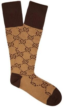 Gucci Gg Intarsia Cotton Blend Socks - Womens - Beige Multi