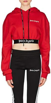 Palm Angels Women's Logo-Hem Cotton Crop Hoodie
