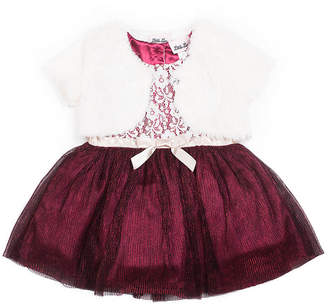 Little Lass Embellished Short Sleeve Party Dress - Toddler Girls
