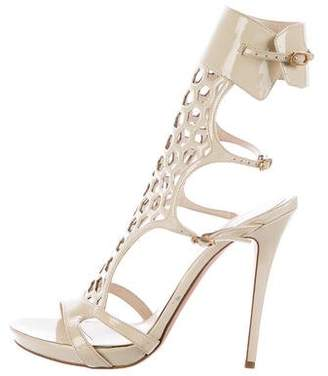 Alexander McQueen Honeycomb Patent Leather Sandals