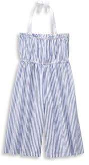 Janie and Jack Little Girl's& Girl's Halter Cotton Stripe Jumpsuit