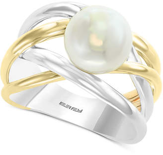 Effy Cultured Freshwater Pearl (9mm) Crisscross Ring in Sterling Silver & 14k Gold