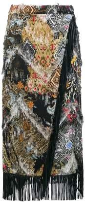 Etro fringed wrap skirt