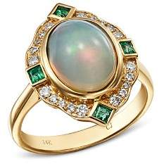 Bloomingdale's Ethiopian Opal, Emerald & Diamond Cocktail Ring in 14K Yellow Gold - 100% Exclusive
