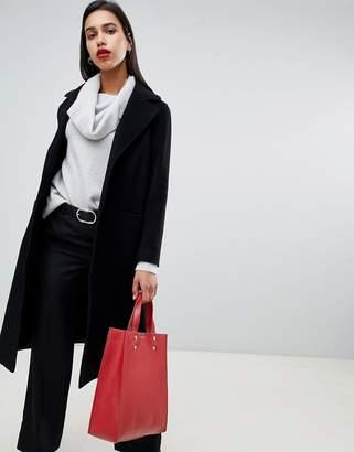 Helene Berman Rever Collar Oversized Longline Coat in Wool Blend