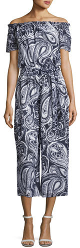 Trina Turk Key Paisley-Print Off-the-Shoulder Jumpsuit