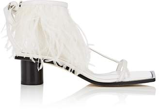 Helmut Lang Women's Feather-Embellished Leather Ankle-Wrap Sandals