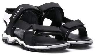 Lanvin Enfant TEEN logo touch-strap sandals