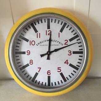 Cowshed Interiors Round Yellow Metropolitan Distressed Metal Wall Clock