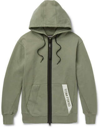 Tom Ford Oversized Logo-Trimmed Garment-Dyed Loopback Cotton-Jersey Hoodie - Men - Green