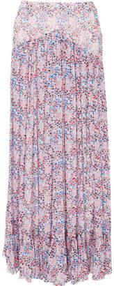 Philosophy di Lorenzo Serafini Ruffled Floral-print Crinkled-chiffon Maxi Skirt - Purple
