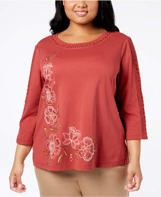 Alfred Dunner Plus Size Crochet-Trim Top