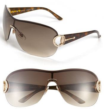 Gucci Crystal Encrusted Shield Sunglasses Gold/ Brown One Size