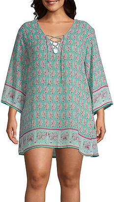 Porto Cruz Floral Knit Swimsuit Cover-Up Dress-Plus