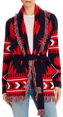 Minnie Rose Fringed Belted Duster Cardigan