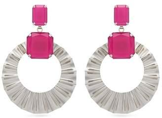 Isabel Marant Crystal And Hoop Drop Earrings - Womens - Pink