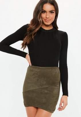 Missguided Faux Suede Wrap Mini Skirt Khaki