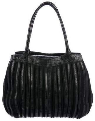 Nancy Gonzalez Suede & Crocodile Shoulder Bag