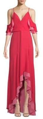 BCBGMAXAZRIA High-Low Ruffle Gown